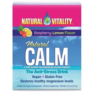 Natural Vitality, Natürlich ruhig, Entspannendes Magnesium-Ergänzungsmittel, Himbeere-Zitronen-Geschmack, 30 Portionspackungen, 0,12 oz (3,3 g)