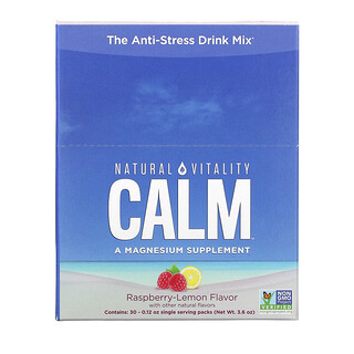 Natural Vitality, CALM, The Anti-Stress Drink Mix, Raspberry-Lemon Flavor, 30 Single Serving Packs, 0.12 oz (3.3 g) Each
