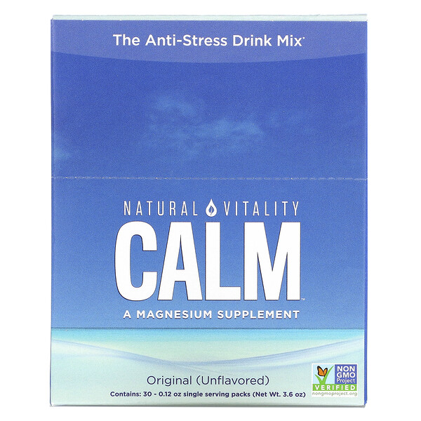 CALM, The Anti-Stress Drink Mix, Original (Unflavored), 30 Single Serving Packs, 0.12 oz (3.3 g) Each