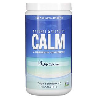 Natural Vitality, CALM con calcio, Mezcla para preparar bebidas antiestrés, Original (sin sabor), 454g (16oz)