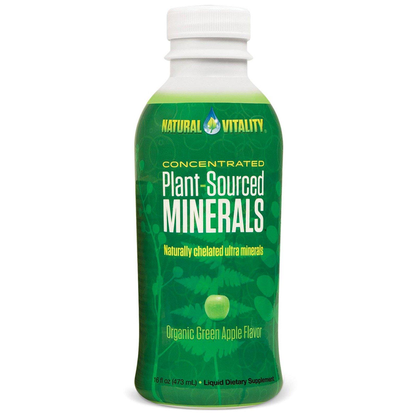 Natural Vitality, Растительные минералы, со вкусом органического зеленого яблока, 16 ж. унций (473 мл)