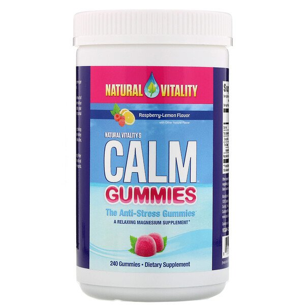 Natural Vitality, Calm Gummies, The Anti-Stress Gummies, Raspberry-Lemon Flavor, 240 Gummies