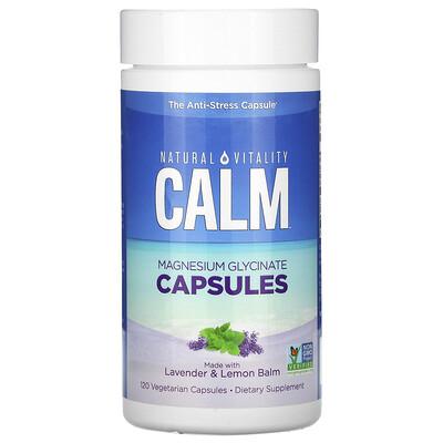 Купить Natural Vitality Calm, Magnesium Glycinate Capsules with Lavender & Lemon Balm, 120 Vegetarian Capsules