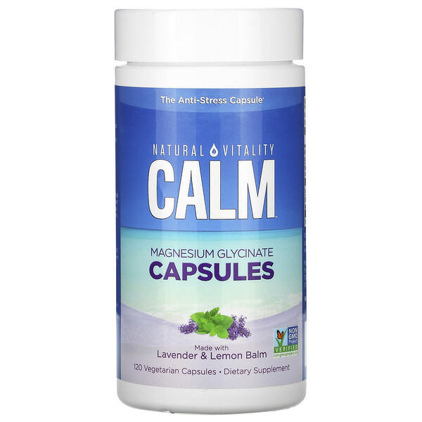 Natural Vitality, Calm, Magnesium Glycinate Capsules with Lavender & Lemon Balm, 120 Vegetarian Capsules