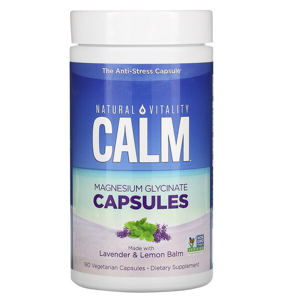 Calm, Magnesium Glycinate Capsules with Lavender & Lemon Balm, 180 Vegetarian Capsules