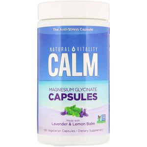 Natural Vitality, Calm, Magnesium Glycinate Capsules, 180 Vegetarian Capsules