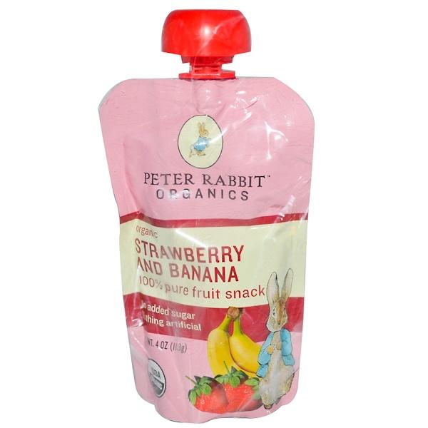 Peter Rabbit Organics, 100% Pure Fruit Snack, Strawberry and Banana, 4 oz (113 g) (Discontinued Item)