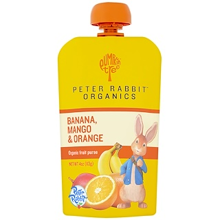 Pumpkin Tree Snacks, Peter Rabbit Organics, Organic Fruit Puree, Banana, Mango & Orange, 4 oz (113 g)