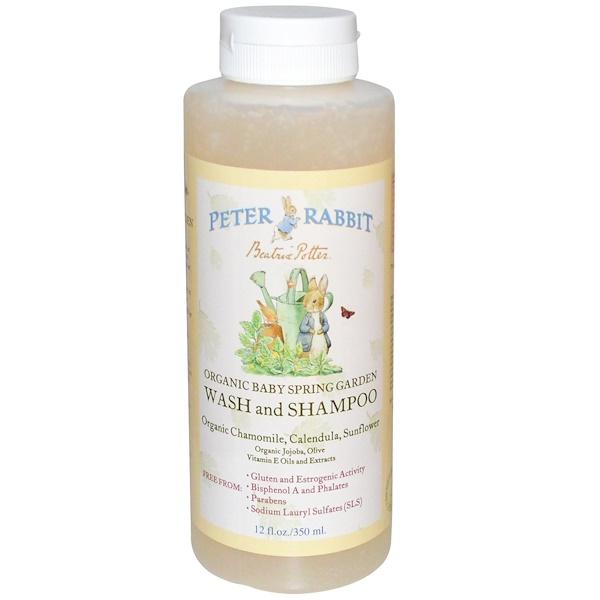 Peter Rabbit-Organic Baby Spring Garden, Wash and Shampoo, Organic Chamomile, Calendula, Sunflower, 12 fl oz (350 ml) (Discontinued Item)