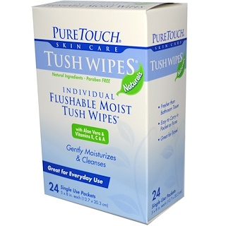 PureTouch Skin Care, Individual Flushable Moist Tush Wipes, 24 Single Use Packets