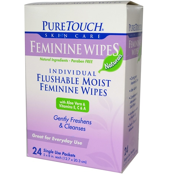 PureTouch Skin Care, Feminine Wipes, 24 Single Use Packets (Discontinued Item)