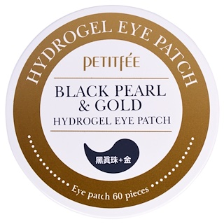 Petitfee, Black Pearl & Gold Hydrogel Eye Patch, 60 pieces