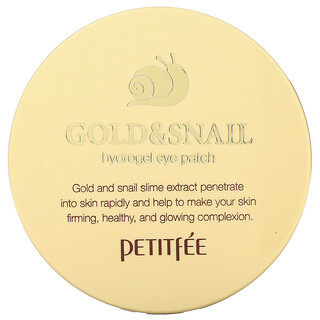Petitfee, Gold & Snail Hydrogel Eye Patch, 60 Pieces