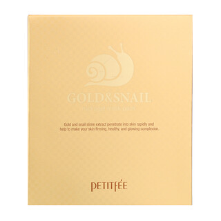 Petitfee, Gold & Snail Hydrogel Beauty Mask Pack, 5 Sheets, 30 g Each