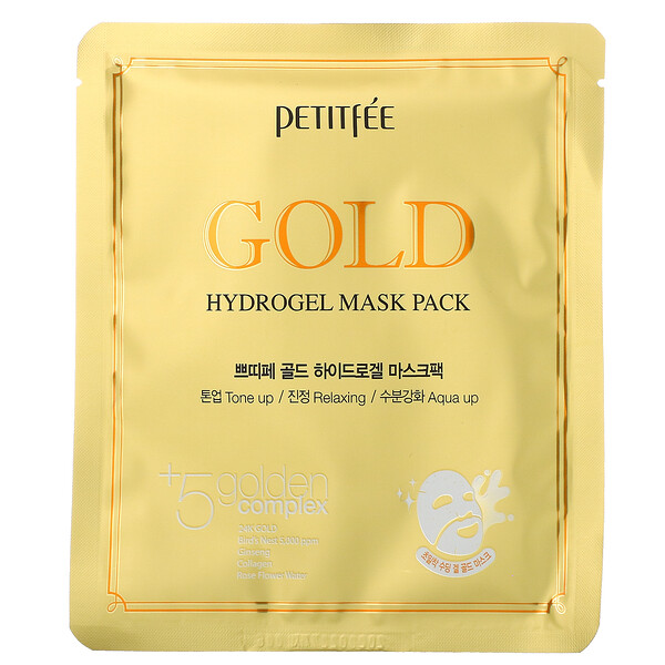 Petitfee, Gold Hydrogel Beauty Mask Pack, 5 Sheets