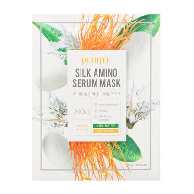 Petitfee Маска Silk Amino Serum, 10 масок по 25 г каждая  - купить со скидкой