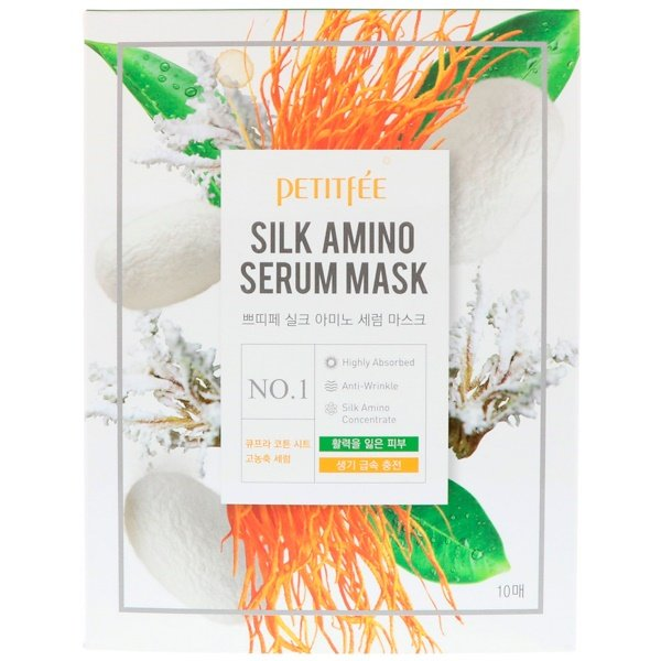 Petitfee, Silk Amino Serum Mask, 10 Masks, 25 g Each