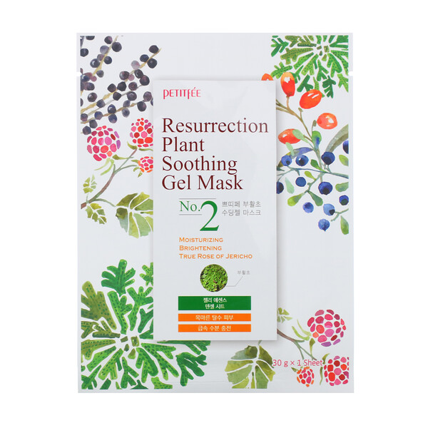 Petitfee, Resurrection Plant Soothing Gel Mask, 10 Sheets, 30 g Each