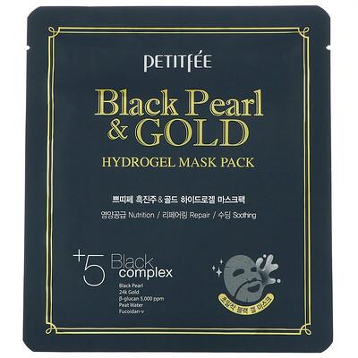 Купить Petitfee гидрогелевая маска для лица с золотом и черным жемчугом, 5шт., по 32г