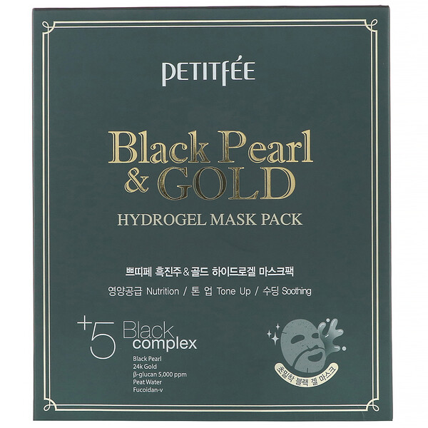 Petitfee, Black Pearl & Gold Hydrogel Mask Pack, 5 Sheets, 32 g Each