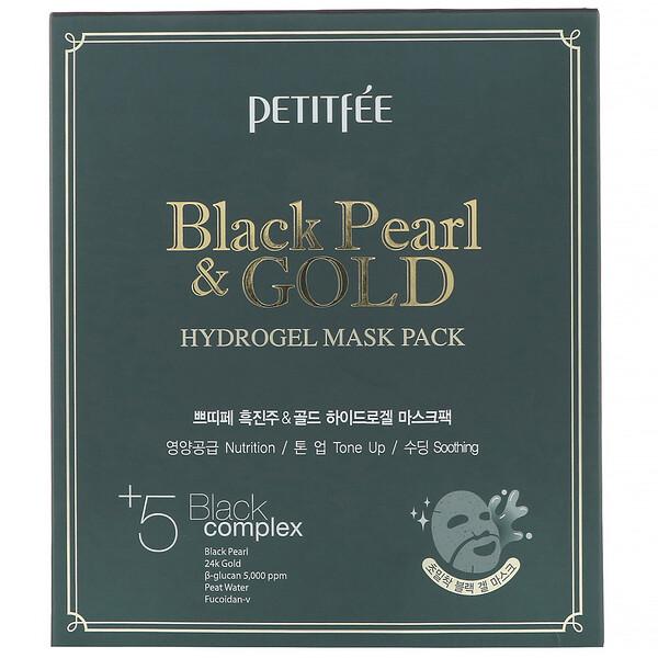 Petitfee, Гидрогелевая маска для лица с золотом и черным жемчугом, 5шт по 32г
