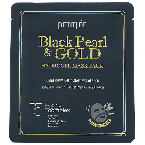 Black Pearl & Gold Hydrogel Mask Pack, 5 Sheets, 32 g Each