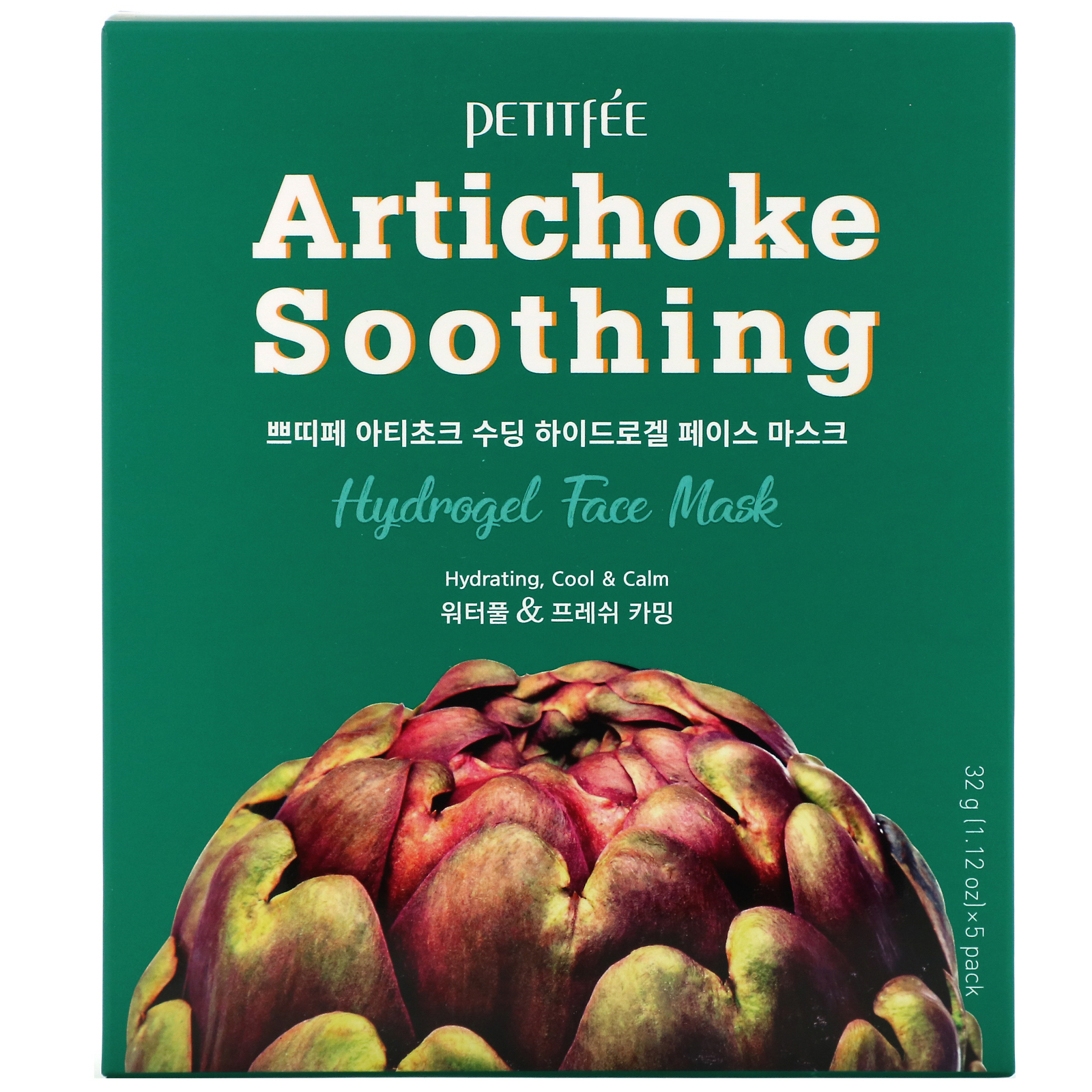 Petitfee, Artichoke Soothing, Hydrogel Face Mask, 5 Sheets, 1.12 oz (32 g) Each
