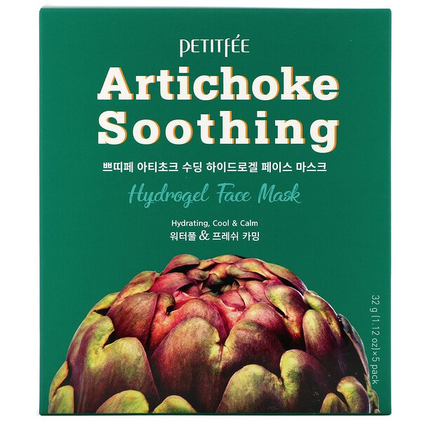 Petitfee, Artichoke Soothing, Hydrogel Face Mask, 5 Sheets, 1.12 oz (32 g) Each