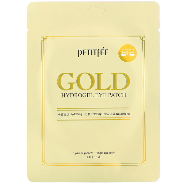 Gold, Hydrogel Eye Patch, 1 Pair