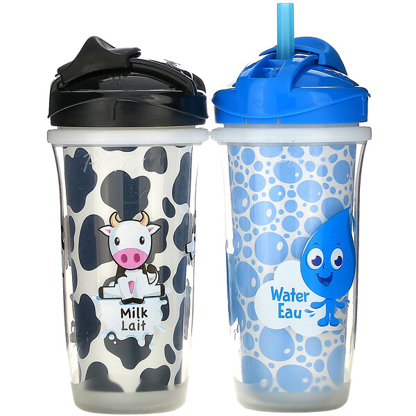 Playtex Baby, Sipsters, Milk & Water Straw Cups, 12M+, 2 Cups, 9 oz (266 ml) Each (Discontinued Item)