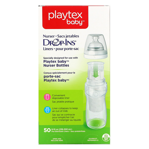 Playtex Baby,  Closer to Natural Breast Feeding, Nurser Drop-Ins Liners, 50 Pre-Sterilized Liners, 8-10 oz (236-300 ml)