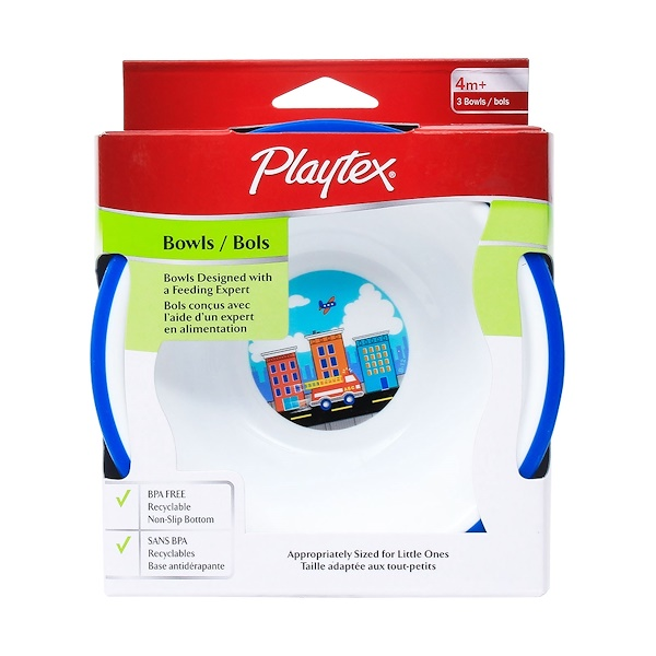 Playtex Baby, Bowls, 4 + Months, 3 Pack (Discontinued Item)