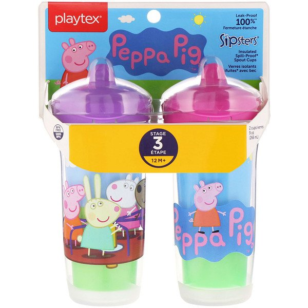 Playtex Baby, Sipsters, Peppa Pig, mayor de 12 meses, 2 vasos, 9 oz. (266 ml.) c/u