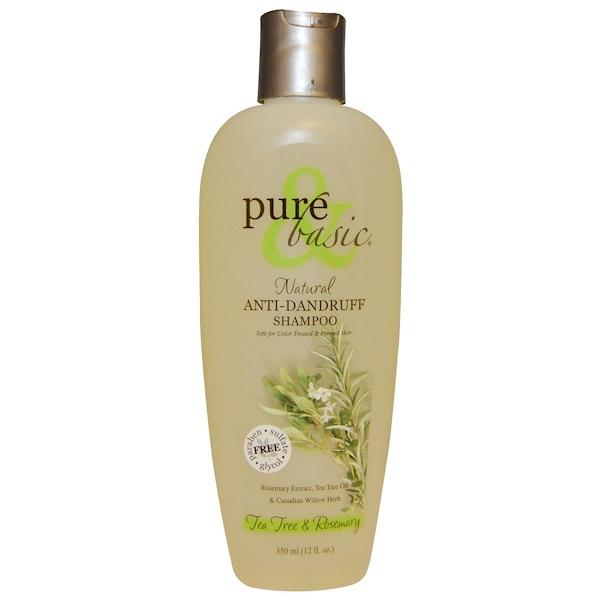 Pure & Basic, Natural Anti-Dandruff Shampoo, Tea Tree & Rosemary, 12 fl oz (350 ml) (Discontinued Item)