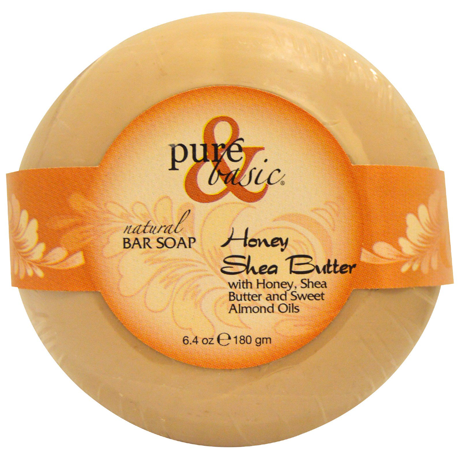 Pure & Basic, Natural Bar Soap, Honey Shea Butter, 6.4 oz (180 g) Bar