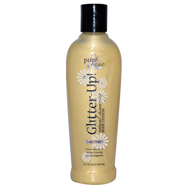Pure & Basic, Glitter Up!, Natural Shimmering Body Lotion, Gold Glitter, 6.3 fl oz (187 ml) (Discontinued Item)