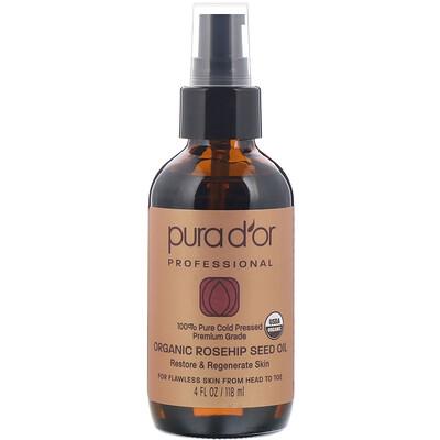 Купить Pura D'or Профессиональное органическое масло из семян шиповника, 118мл (4жидк.унции)