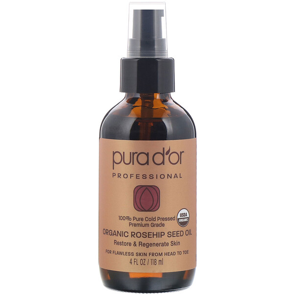 Pura D'or, Professional, Organic Rosehip Seed Oil, 4 fl oz (118 ml)
