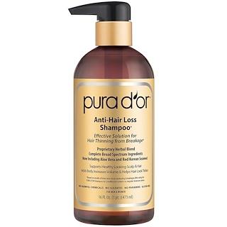Pura D'or, Шампунь против выпадения волос, для мужчин и женщин, все типы волос, 16 жидких унций (473 мл)