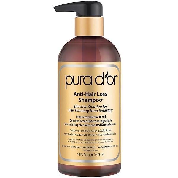 Pura D'or, Anti-Hair Loss Shampoo, For Men and Women, All Hair Types, 16 fl oz (473 ml)