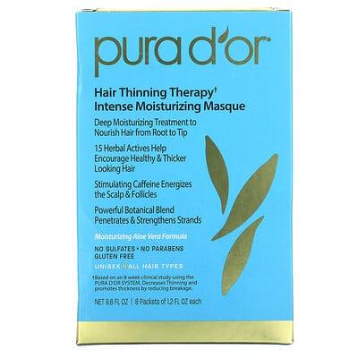 Pura D'or средство против выпадения волос, интенсивная увлажняющая маска, 8 пакетиков по 36 мл (1,2 жидк. унции)