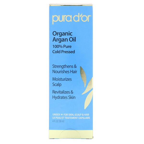Pura D'or, Organic Argan Oil, 4 fl oz (118 ml)