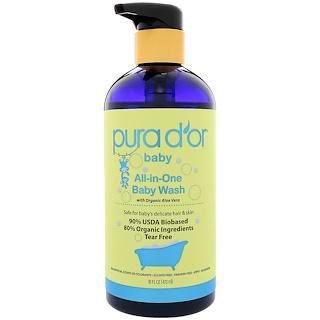 Pura D'or, Jabón líquido para bebé todo en uno, 16 fl oz (473 ml)