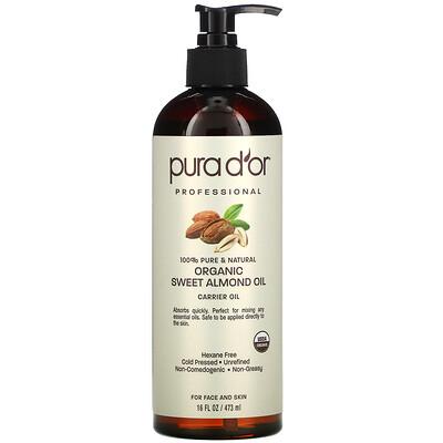 Купить Pura D'or Professional, Organic Sweet Almond Oil, 16 fl oz (473 ml)