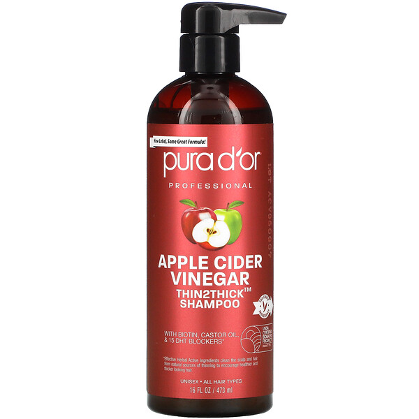 Pura D'or, Professional, Apple Cider Vinegar, Thin2Thick, Shampoo, 16 fl oz (473 ml)