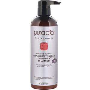 Pura D'or, 專業,蘋果醋 Thin2Thick,洗髮水,16 液量盎司(473 毫升)