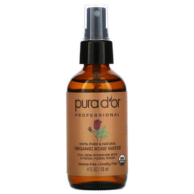 Купить Pura D'or Professional, Organic Rose Water, 4 fl oz (118 ml)