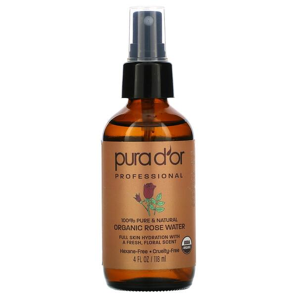 Pura D'or, Professional, Organic Rose Water, 4 fl oz (118 ml)