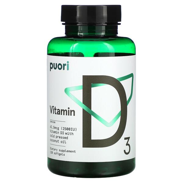 Vitamin D3, 62,5 mcg (2,500 IU), 120 Softgels