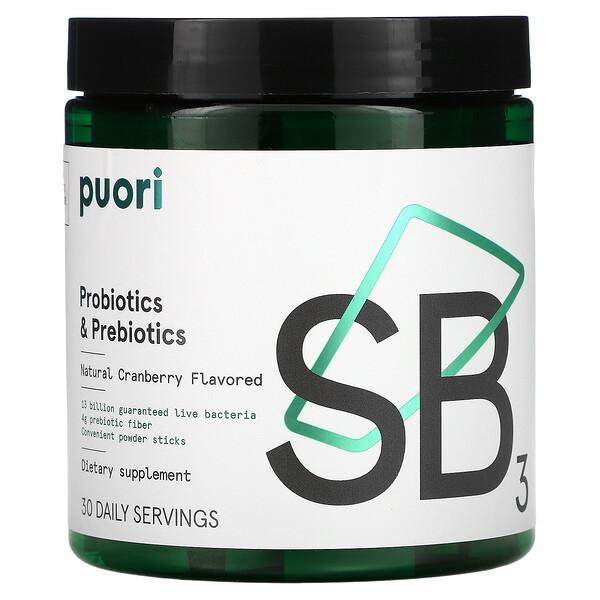 Probiotics & Prebiotic, Natural Cranberry, 30 Sticks, 4.5 g Each
